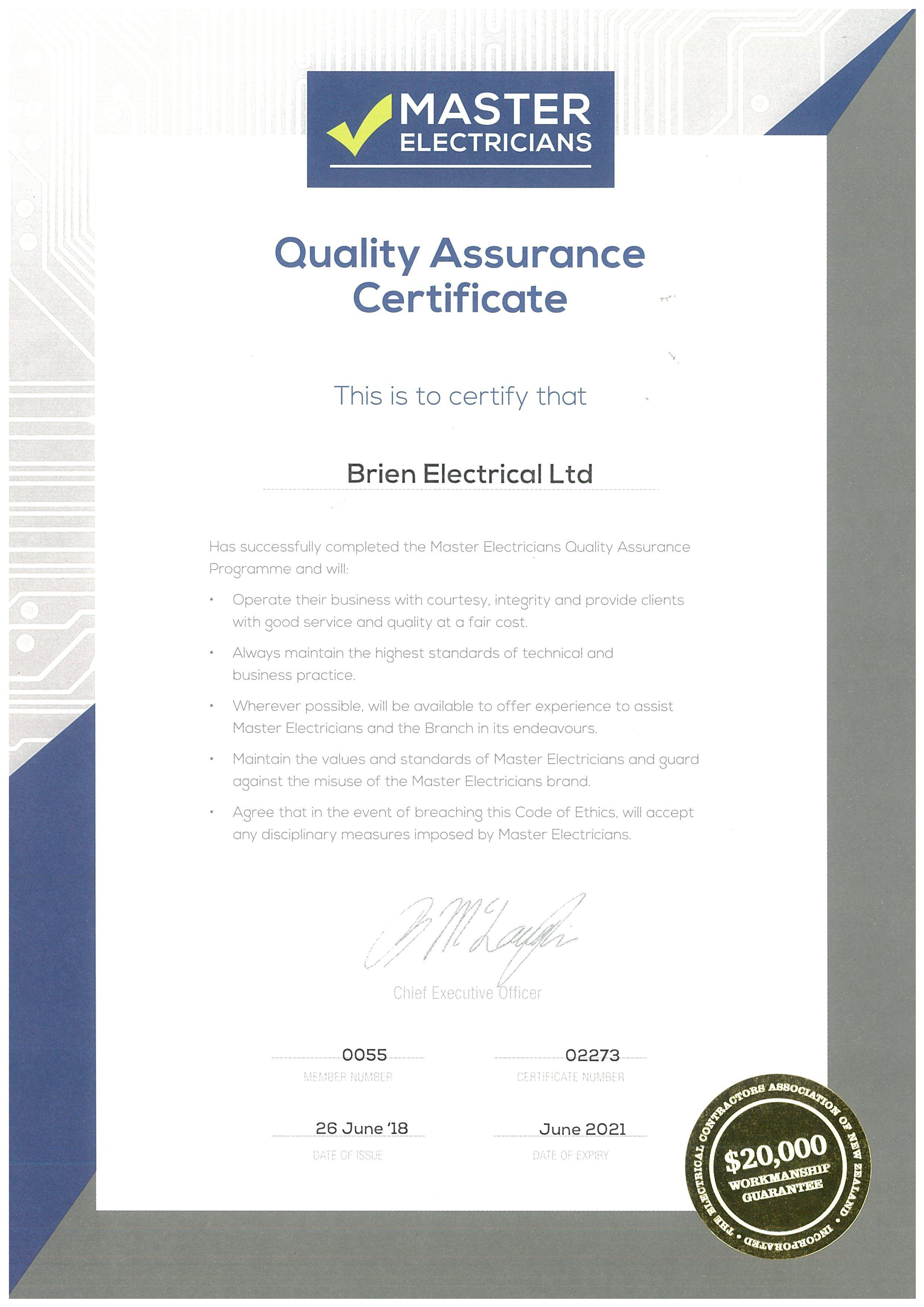 certificate qa june logged must comment